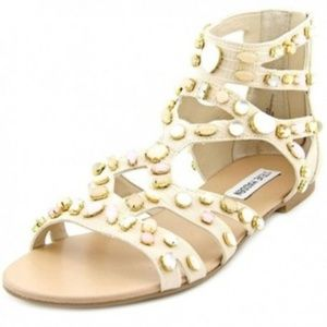 Steve Madden White Culver Jeweled Gladiator Flat